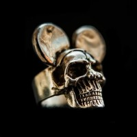 Brass Ring Mickey Skull Ring HTJ16