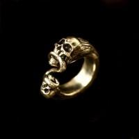 Double skull brass ring Brass Ring HTJ35