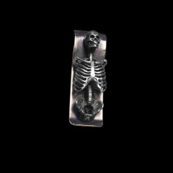 Human skeleton money clip 925 Sterling Silver skull money clip FCS04-3