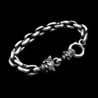Clown skull Bracelet 925 Sterling Silver joker Bracelets SSB73