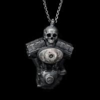 Engine skull pendant 925 Sterling Silver skull engine pendants SSP119