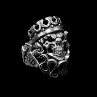 Clown king silver skull ring SSJ87