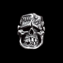 Science freak silver Frankenstein skull ring SSJ88