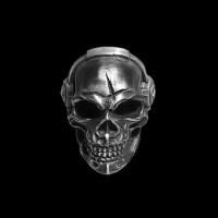 Music rock skull Ring 925 silver With headset listen to music skull rings SSJ159