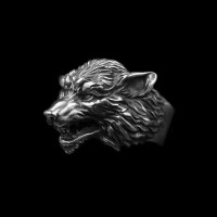Wolf king ring 925 Sterling silver original wolf head rings SSJ190