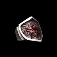 Eye of the lava Agate ring 925 Sterling silver shield crackle rings SSJ201